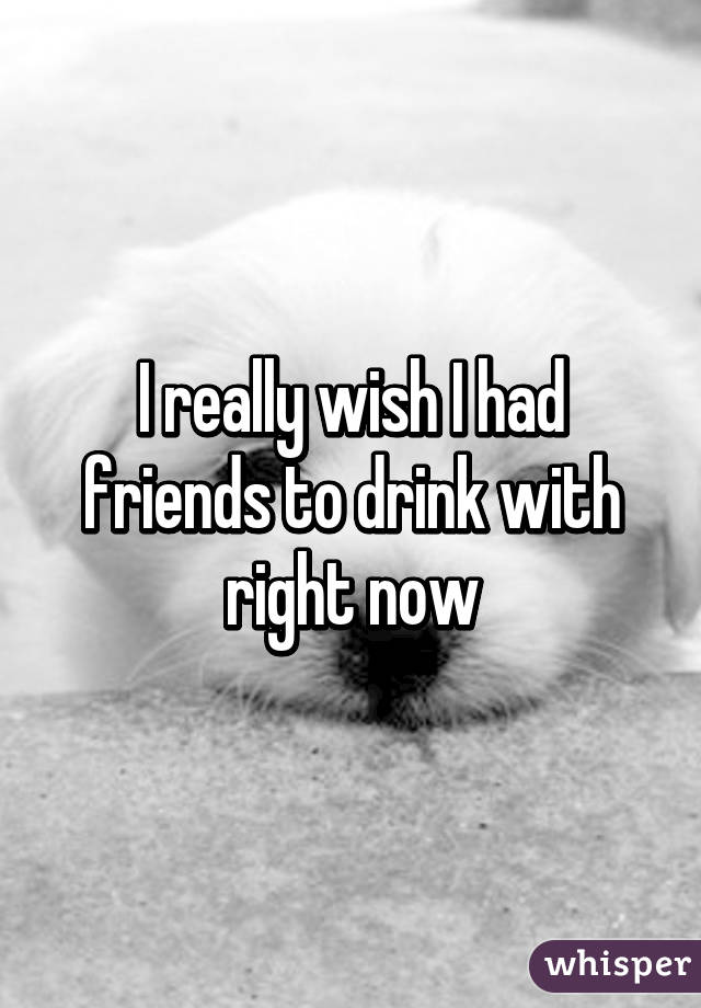 I really wish I had friends to drink with right now