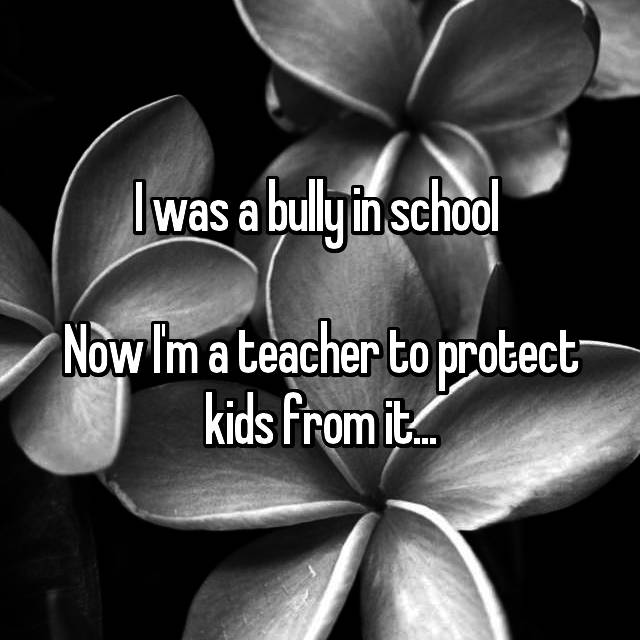 I was a bully in school   Now I'm a teacher to protect kids from it...
