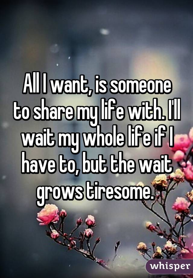 Someone to share my life with