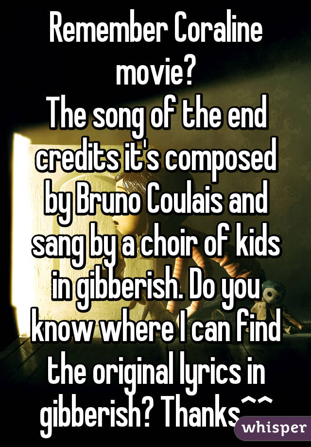 remember coraline movie the song of the end credits its