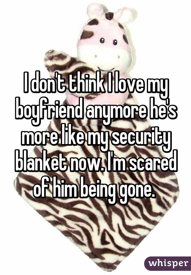 I don't think I love my boyfriend anymore he's more like my security blanket now. I'm scared of him being gone.