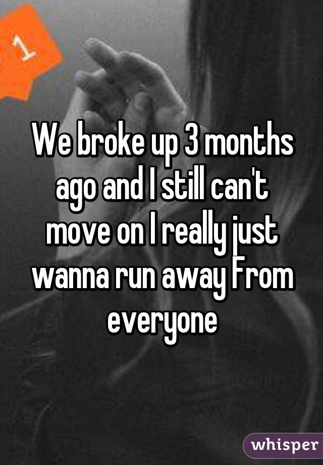 We broke up 3 months ago and I still can't move on I really just wanna run away From everyone