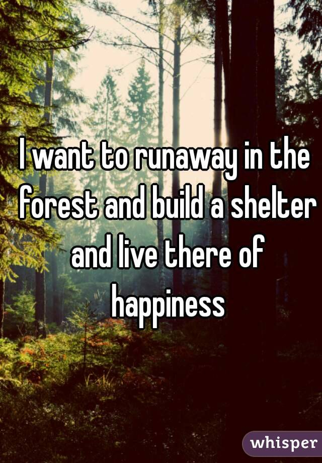 I want to runaway in the forest and build a shelter and live there of happiness