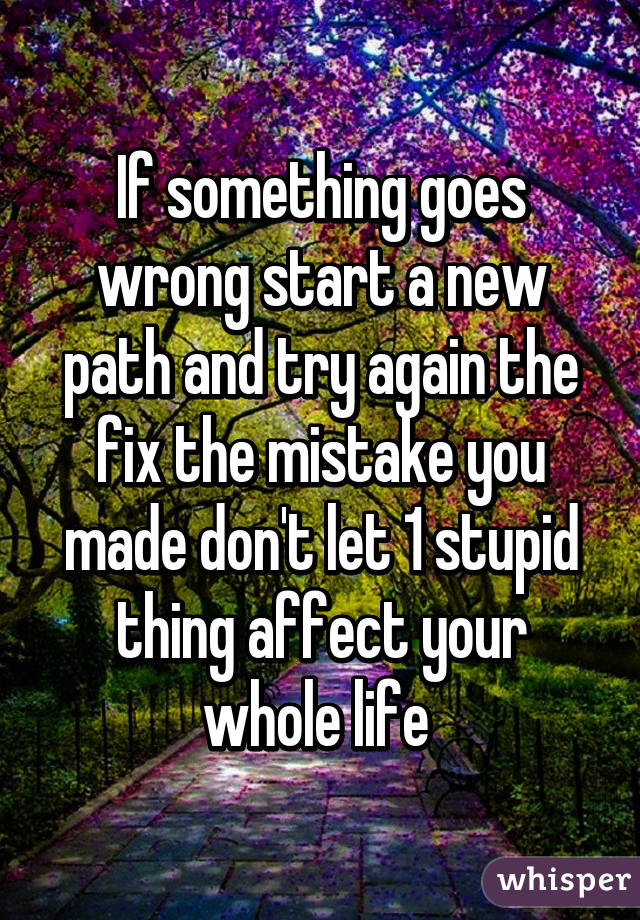 If something goes wrong start a new path and try again the fix the mistake you made don't let 1 stupid thing affect your whole life