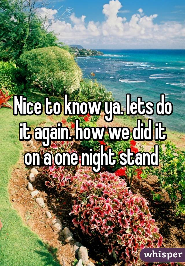 Nice to know ya. lets do it again. how we did it on a one night stand