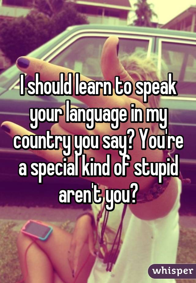 I should learn to speak your language in my country you say? You're a special kind of stupid aren't you?