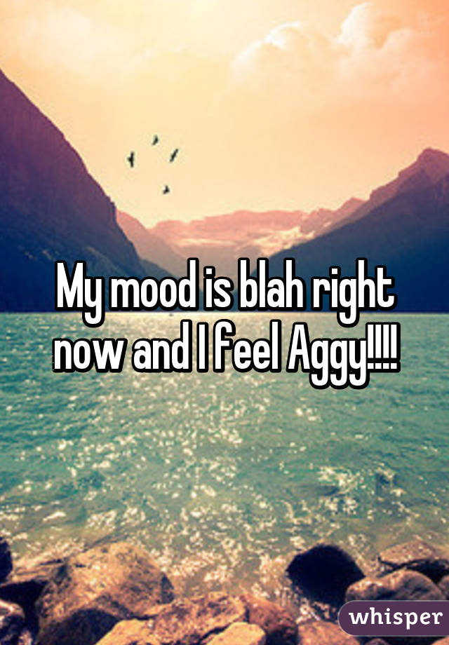 My mood is blah right now and I feel Aggy!!!!
