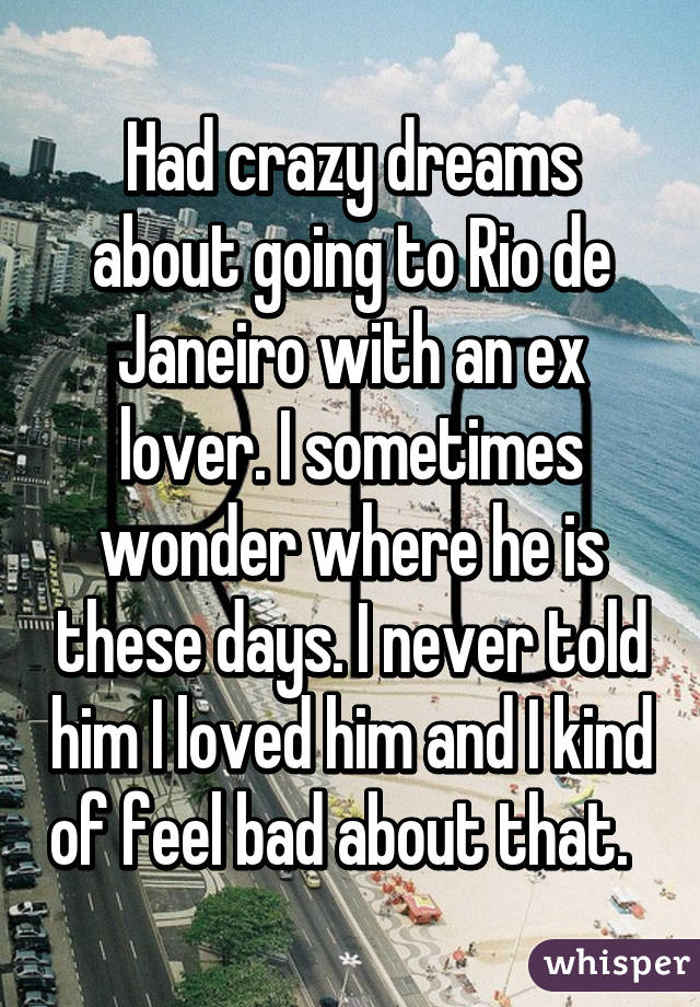 Had crazy dreams about going to Rio de Janeiro with an ex lover. I sometimes wonder where he is these days. I never told him I loved him and I kind of feel bad about that.