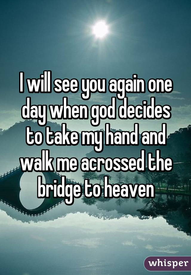 i will see you again one day when god decides to take my hand and walk me acrossed the bridge to. Black Bedroom Furniture Sets. Home Design Ideas
