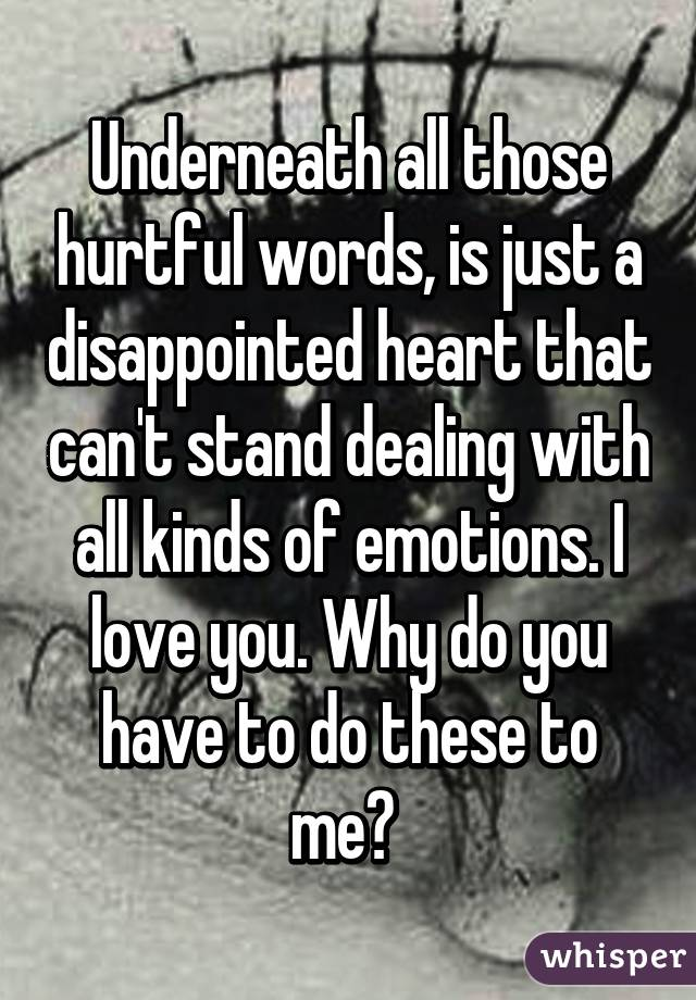 Underneath all those hurtful words, is just a disappointed heart that can't stand dealing with all kinds of emotions. I love you. Why do you have to do these to me?