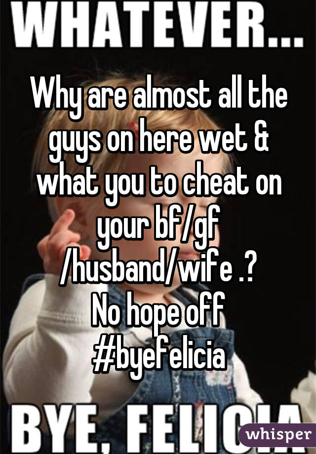Why are almost all the guys on here wet & what you to cheat on your bf/gf /husband/wife .? No hope off #byefelicia