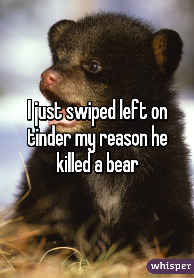 I just swiped left on tinder my reason he killed a bear