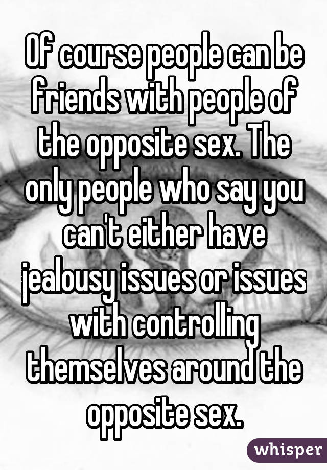 Can you be friends with the opposite sex