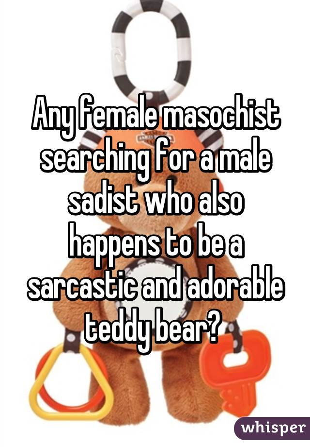 Any female masochist searching for a male sadist who also happens to be a sarcastic and adorable teddy bear?