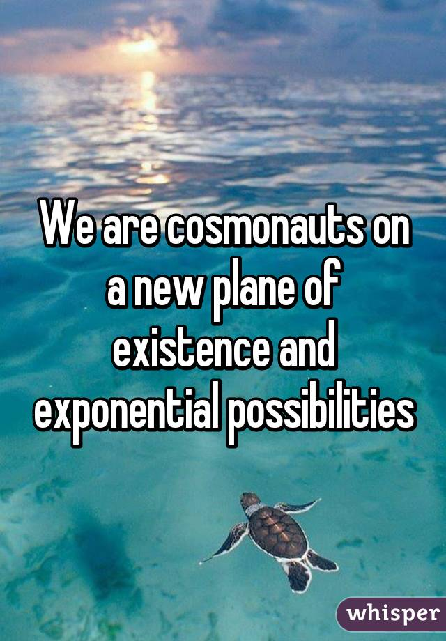 We are cosmonauts on a new plane of existence and exponential possibilities