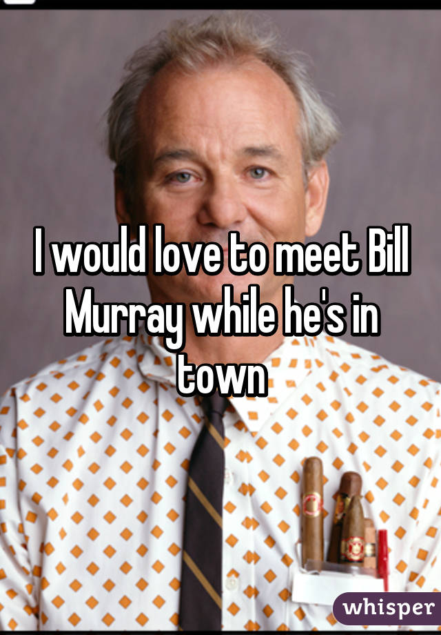I would love to meet Bill Murray while he's in town