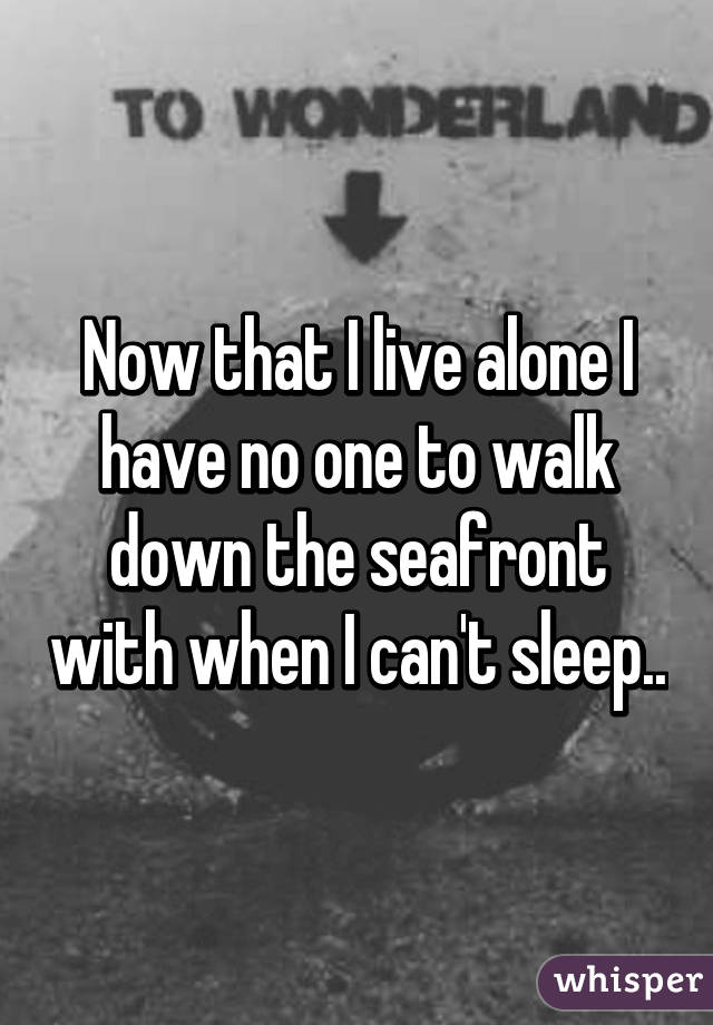 Now that I live alone I have no one to walk down the seafront with when I can't sleep..
