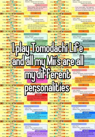Life personality tomodachi Personality and