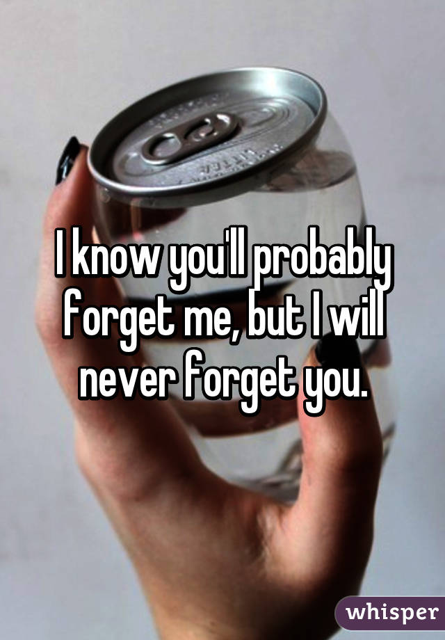I Know Youll Probably Forget Me But I Will Never Forget You