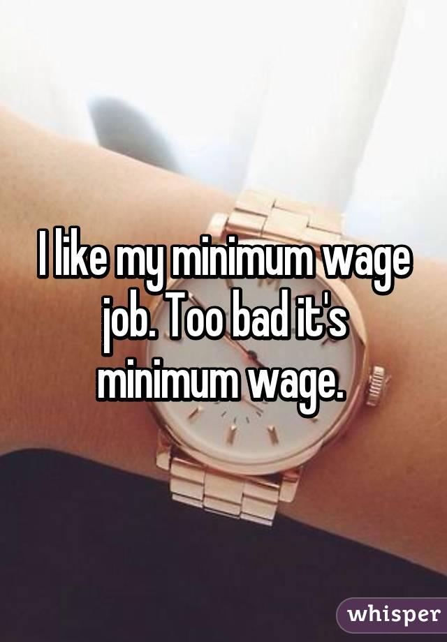I like my minimum wage job. Too bad it's minimum wage.