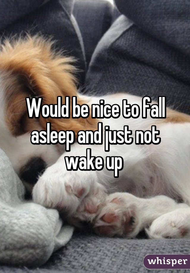 Would be nice to fall asleep and just not wake up