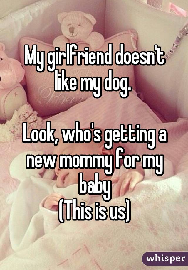 My girlfriend doesn't like my dog.   Look, who's getting a new mommy for my baby (This is us)