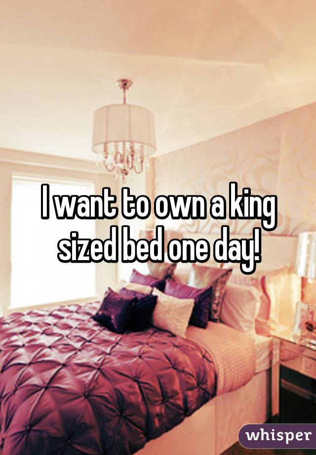 I want to own a king sized bed one day!