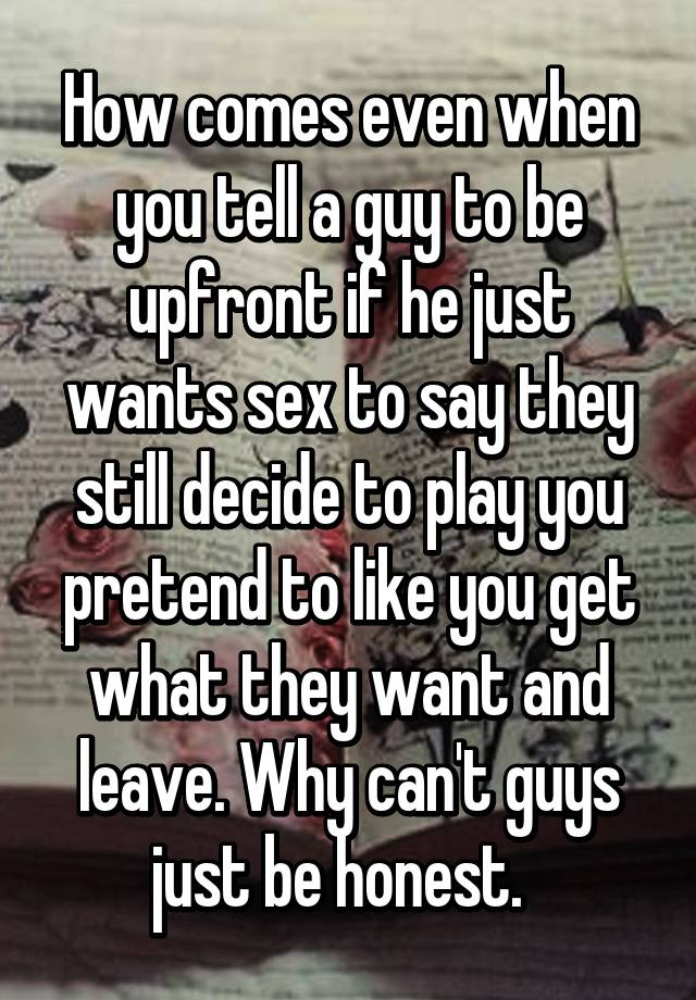 Guys just want to play