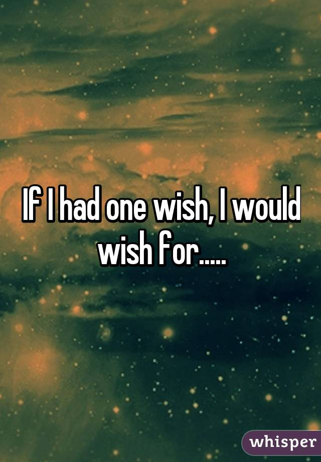 if i had just one wish