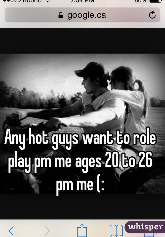 Any hot guys want to role play pm me ages 20 to 26 pm me (: