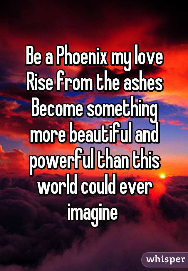 Be a Phoenix my love Rise from the ashes Become something more beautiful and powerful than this world could ever imagine