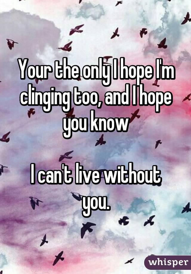 Your the only I hope I'm clinging too, and I hope you know  I can't live without you.