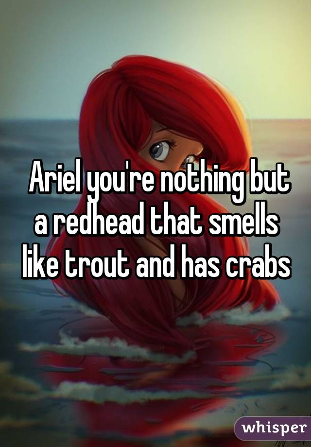 Ariel you're nothing but a redhead that smells like trout and has crabs