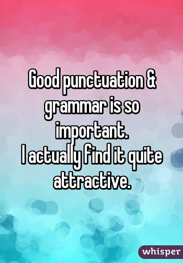 Good punctuation & grammar is so important. I actually find it quite attractive.