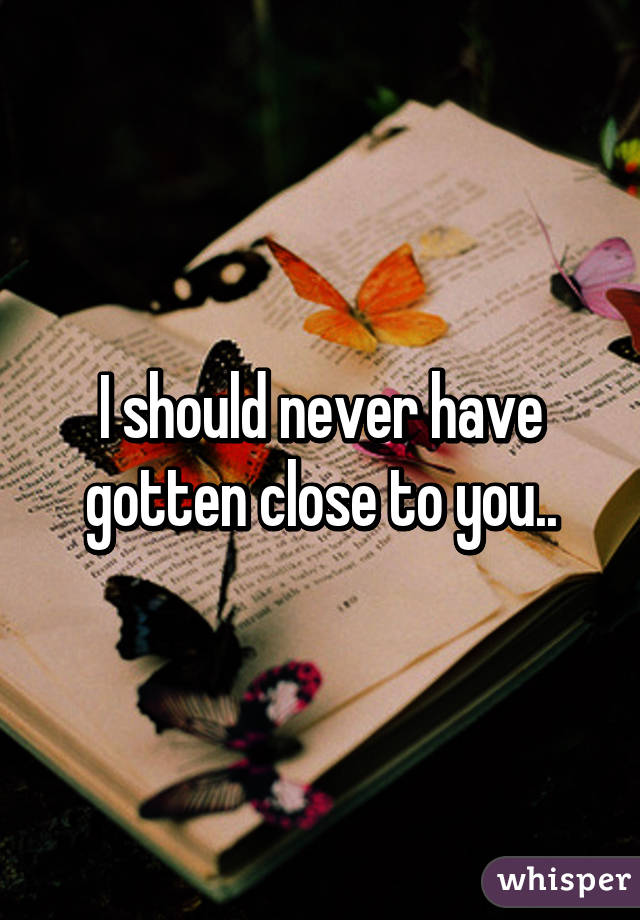 I should never have gotten close to you..