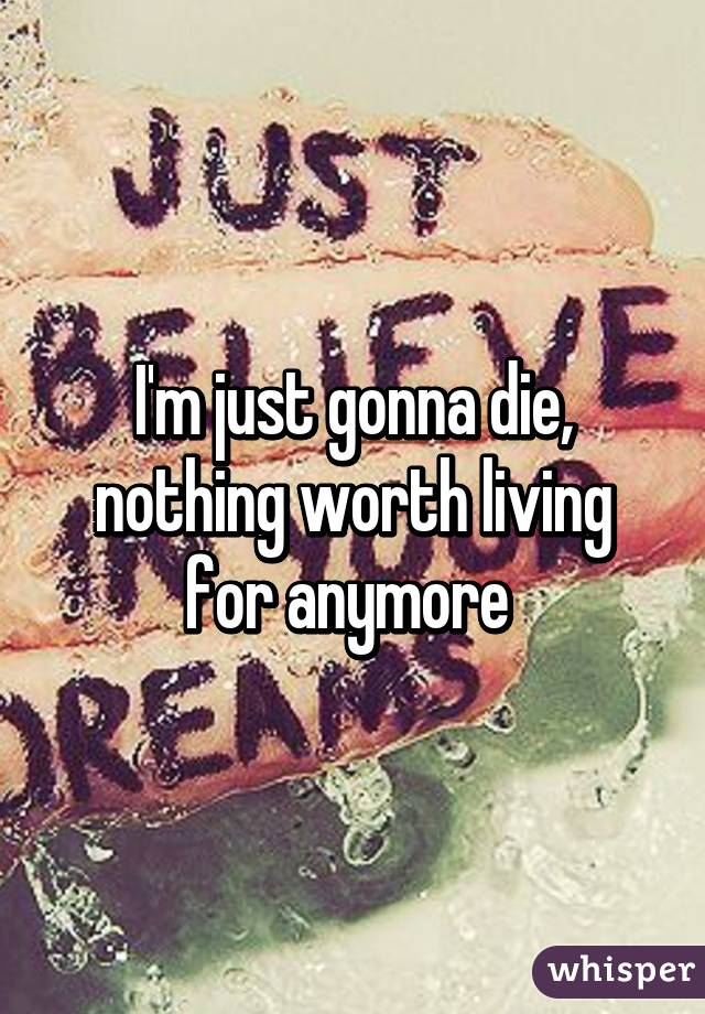 I'm just gonna die, nothing worth living for anymore