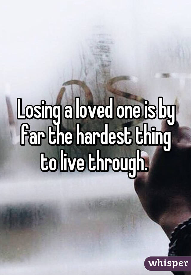 Losing a loved one is by far the hardest thing to live through.