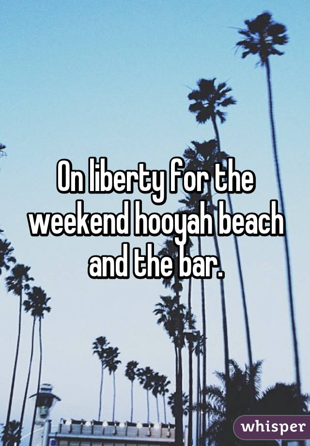 On liberty for the weekend hooyah beach and the bar.