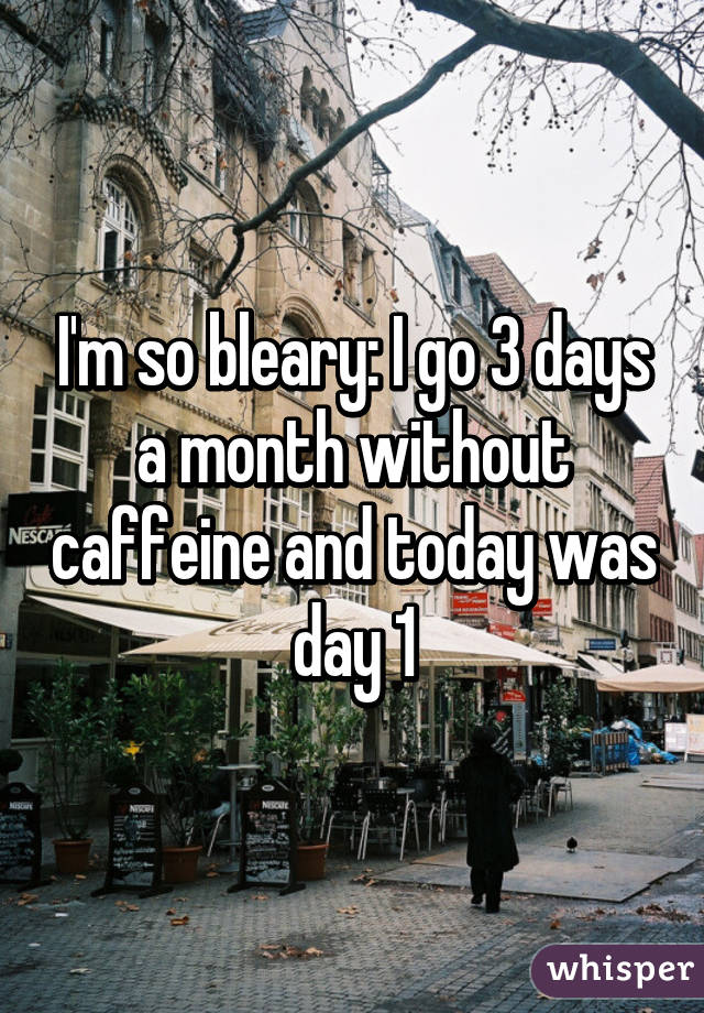 I'm so bleary: I go 3 days a month without caffeine and today was day 1