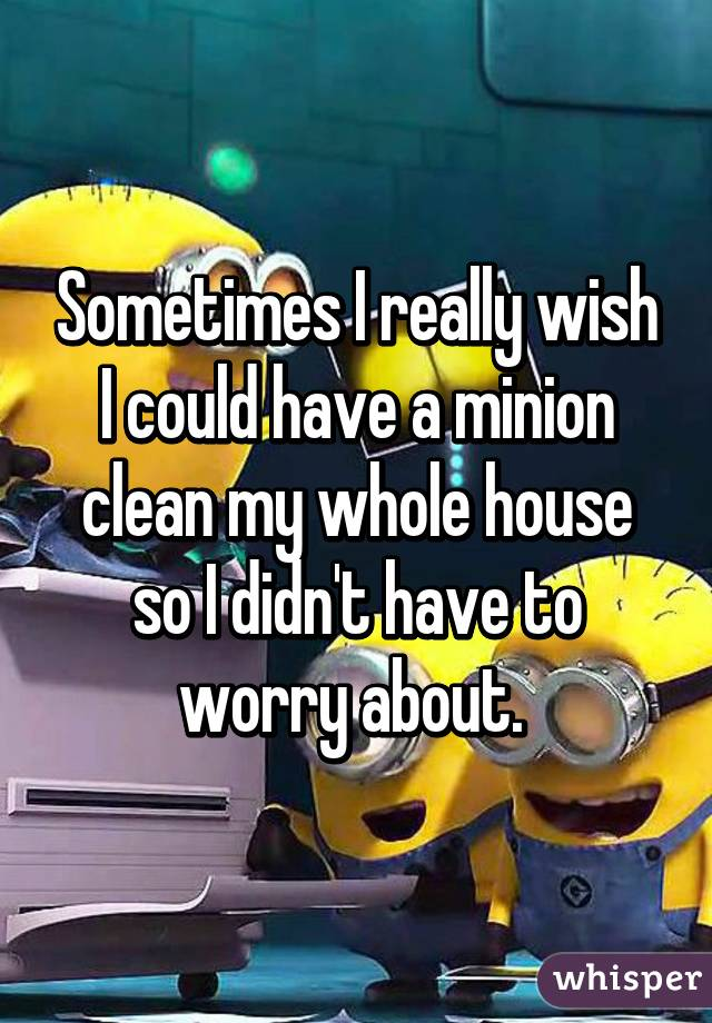 Sometimes I really wish I could have a minion clean my whole house so I didn't have to worry about.