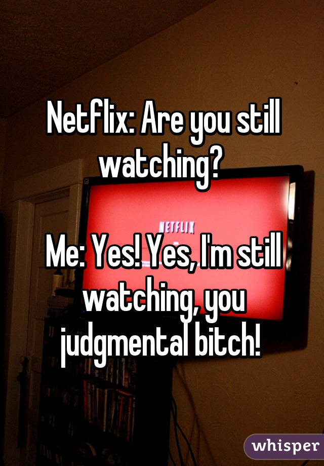 Netflix: Are you still watching?   Me: Yes! Yes, I'm still watching, you judgmental bitch!