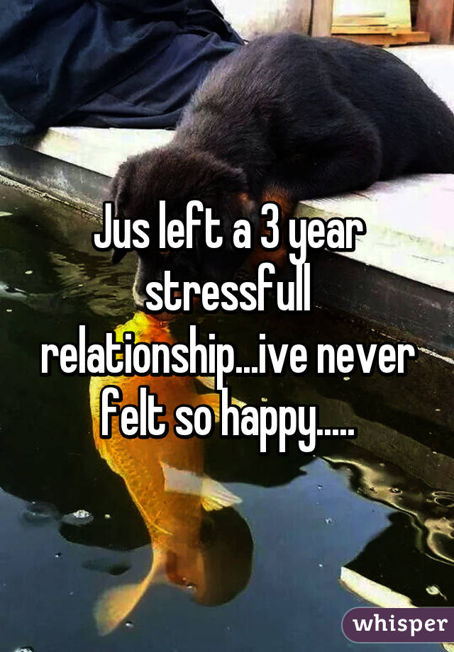 Jus left a 3 year stressfull relationship...ive never felt so happy.....