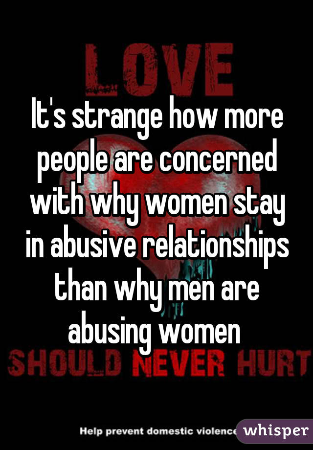 Why do women stay in abusive relationships