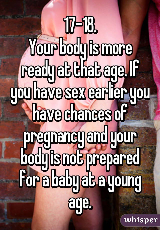 At what age should you have sex