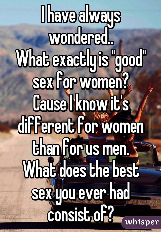 Pity, What is a good sex