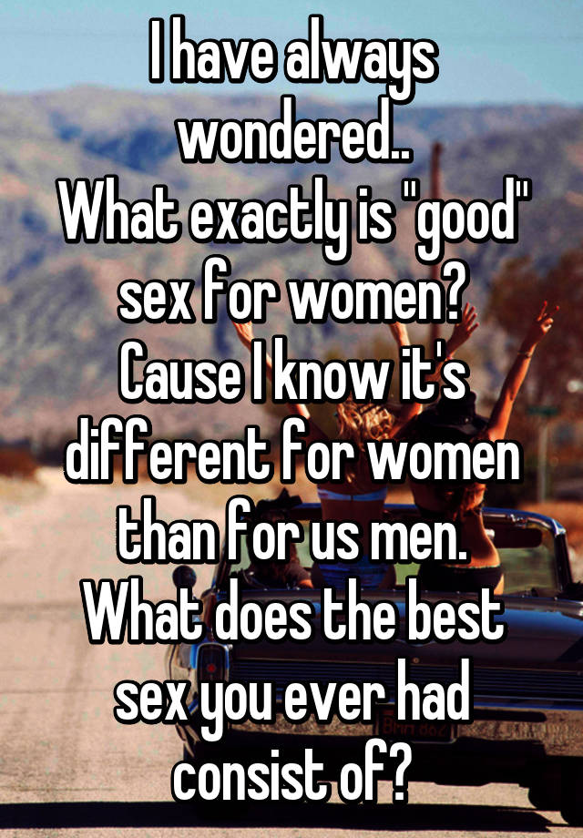 what is good sex for men