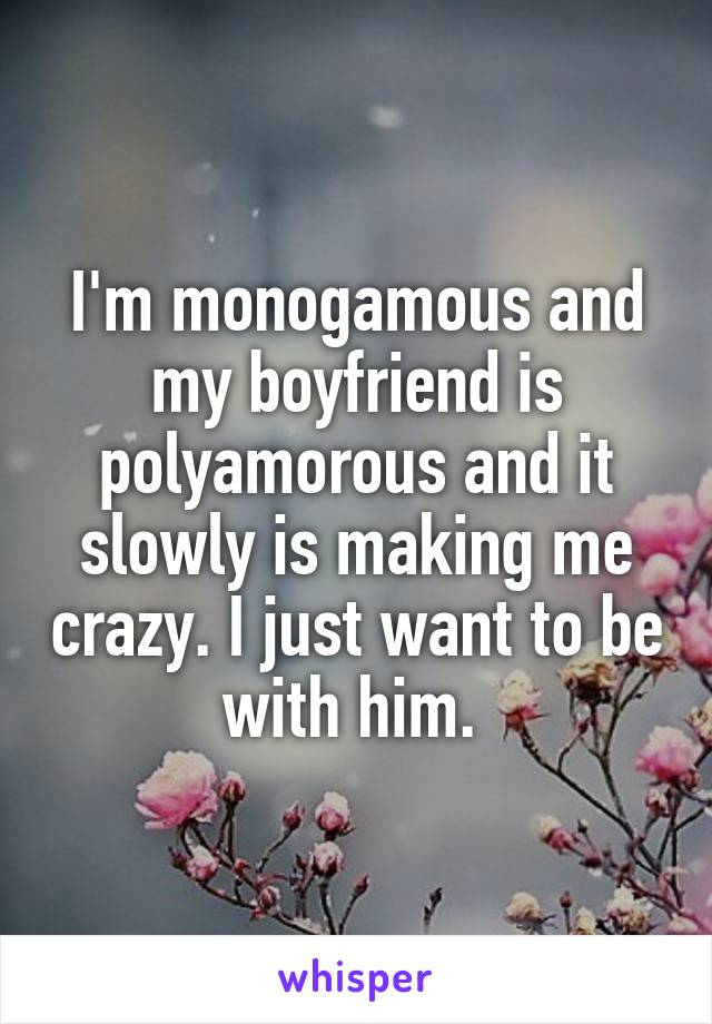I'm monogamous and my boyfriend is polyamorous and it slowly is making me crazy. I just want to be with him.
