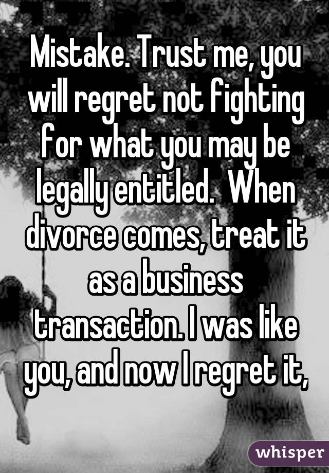 Divorce regret