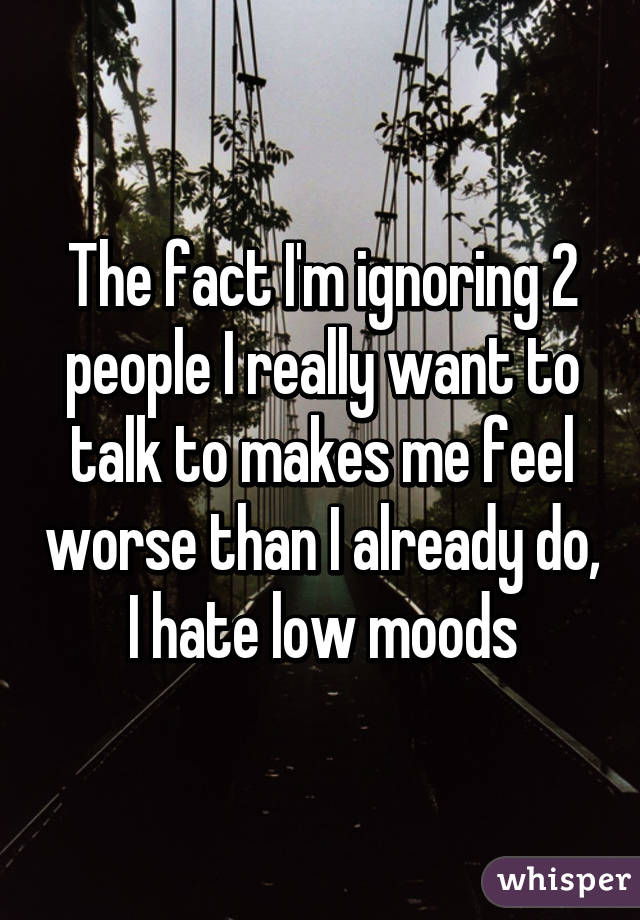 The fact I'm ignoring 2 people I really want to talk to makes me feel worse than I already do, I hate low moods