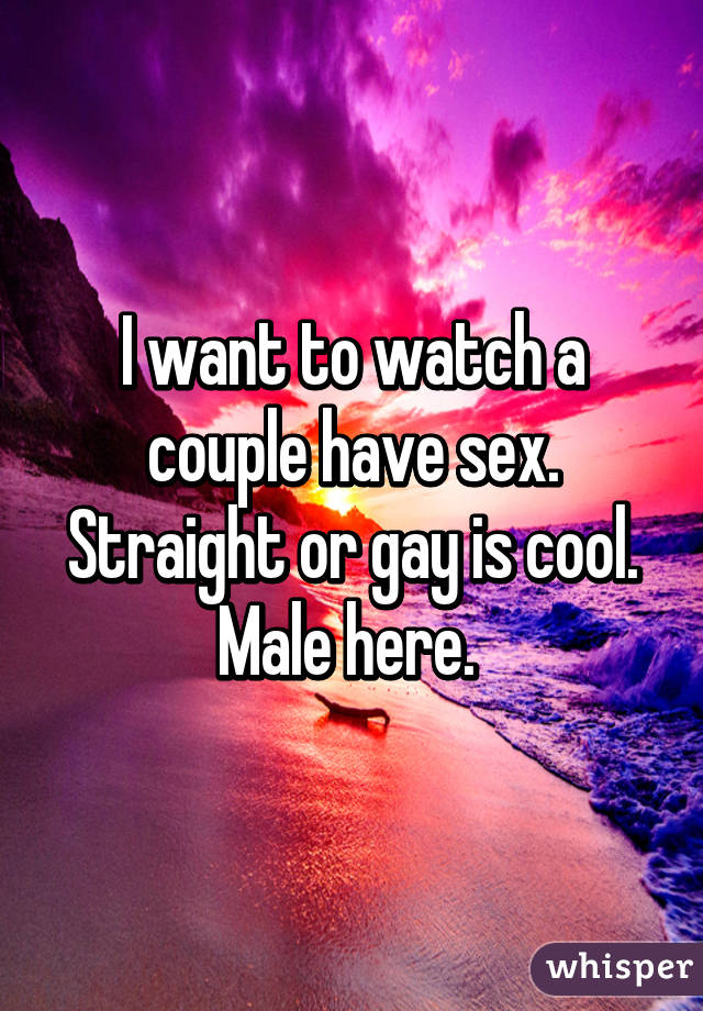 I want to watch a couple have sex. Straight or gay is cool. Male here.
